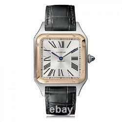 2020 Cartier Santos Dumont Large Model Steel 18K Rose Gold Quartz Watch W2SA0011