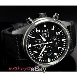 42mm parnis Black dial Chronograph 2019 luxury brand watch military watches