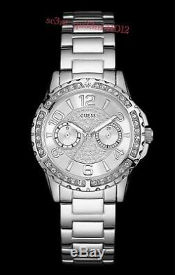 AUTHENTIC GUESS LADIES' SASSY WATCH SILVER TONE RRP$349 Brand New
