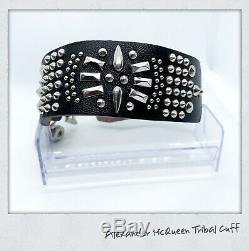 Alexander McQueen Tribal Studded Leather Cuff Bracelet Brand New = LK NOW