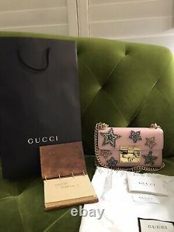 Authentic Brand New Gucci Padlock Small Crystal Star Shoulder Bag Pink $2900