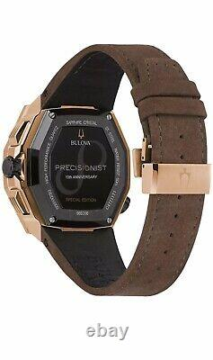 BRAND NEW Bulova Men's Black Dial Brown Leather Strap Watch 98B356