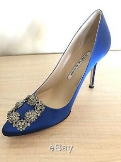 BRAND NEW Manolo Blahnik Blue Satin Crystal Accent Hangisi Heel Pump Size 36.5