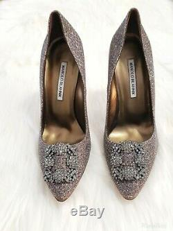 BRAND NEW Manolo Blahnik Hangisi Gold Crystal-Buckle 115mm Pumps SIZE 39/US 9