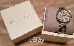 BRAND NEW Michael Kors Women's Floral Silver Tone Dial Silver Watch MK3835