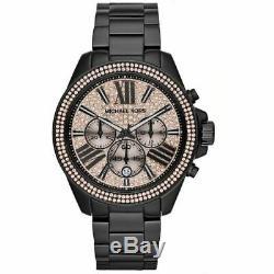 BRAND NEW Michael Kors Wren Pave Chronograph Black Crystal Womens Watch MK5879