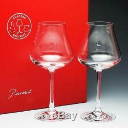 Baccarat Cystal Chateau Baccarat Red Wine Glass Set of 2 Brand New In Red Box