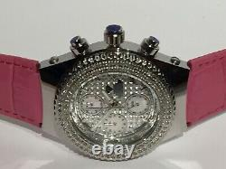 Brand New 1.0ct Real Diamond Leather Aqua Master Chronograph Watch 200m WithProof