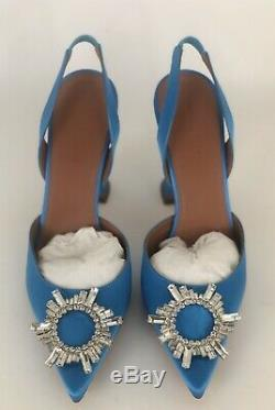 Brand New Amina Muaddi Begum Crystal Slingback Blue Satin Eu39