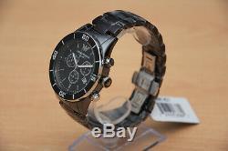 Brand New Armani Mens Ceramic Gents Chronograph Watch Ar1421 Gents Black Dial