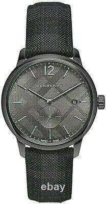 Brand New Burberry BU10010 Classic Round Checked Steel Case Men's Watch