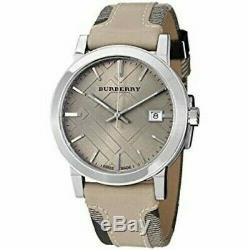 Brand New Burberry BU9021 Gray Sun-ray Dial Check Stainless Steel Women's Watch