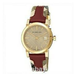 Brand New Burberry BU9111 Haymarket Gold Tone Stainless Steel Women's Watch