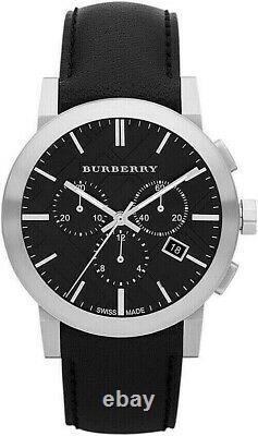 Brand New Burberry BU9356 Chronograph Dial Steel Black Leather Men's Watch