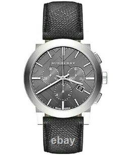 Brand New Burberry BU9362 Chronograph Dial Steel Case Leather Strap Men's Watch