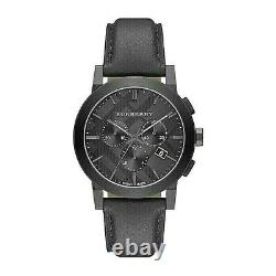 Brand New Burberry BU9364 Chronograph Dial Steel Case Leather Strap Men's Watch