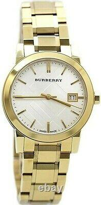 Brand New Burberry The City BU9103 Gold Tone Stainless Steel 34 mm Women's Watch