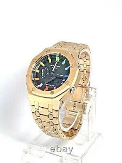 Brand New Casio G-Shock Watch GA-2100SKE-7A Rose Gold Rainbow Casioak AP Style