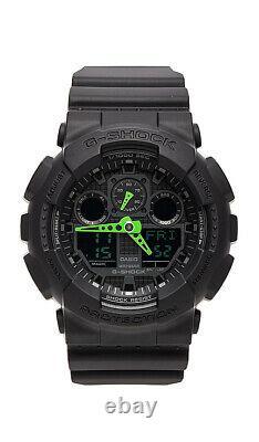 Brand New Casio Men's GA100 G Shock Green Black Resin Strap Watch