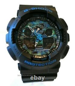 Brand New Casio Men's GA100 G Shock Military Black Blue Strap Watch