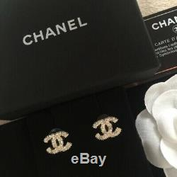Brand New Chanel Medium Size CC Crystal& Pearl Studs Earrings