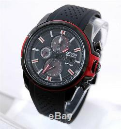 Brand New Citizen Eco-Drive Mens Black & Red Ion Plated Solar Chronograph Watch