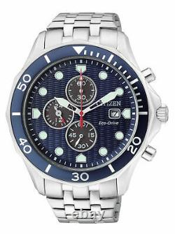 Brand New Citizen Eco-Drive Stainless Blue Dial Chronograph Date Watch