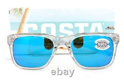 Brand New Costa Del Mar Sunglasses TYBEE Light Gray Crystal Blue Mirror 580G