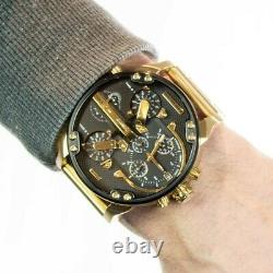 Brand New Diesel Dz7333 Mr Daddy 2.0 XXL 57mm Yellow Gold Chrono Mens Watch