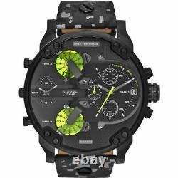 Brand New Diesel Mr Daddy 2.0 57mm Chronograph Black Leather Men Watch Dz7311