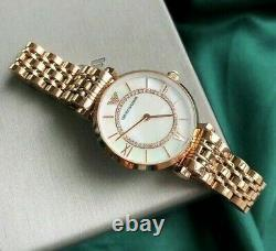 Brand New Emporio Armani Ar1909 Womens Watch Gianni T-bar Rose Gold Pearl Dial