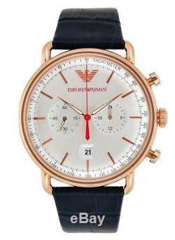 Brand New Emporio Armani Gold Blue Leather Strap Chronograph Men Watch Ar11123