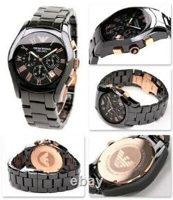 Brand New Emporio Armani Men's Watch Ar1410 Black/rose Gold Ceramica Chronograph