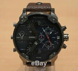 Brand New Genuine Diesel Dz7314 Mr Daddy 2.0 Brown Leather Strap Mens Watch