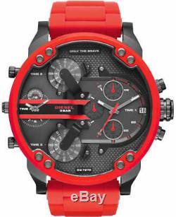 Brand New Genuine Diesel Dz7370 Mr Big Daddy Red Silicone Black Dial Mens Watch