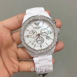 Brand New Genuine Emporio Armani Ar1456 White Dial Ceramic Unisex Watch Uk