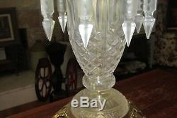 Brand New Glass Crystal Lamp with Glass Crystal Hanging Prisms #2371B