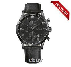 Brand New Hugo Boss 1512567 Aeroliner All Black Leather Strap Men's Watch Uk