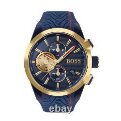 Brand New Hugo Boss Blue Rubber Strap Chronograph Men Watch Hb1513706