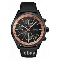 Brand New Hugo Boss Grand Prix Black Leather Chronograph Mens Watch Hb1513550
