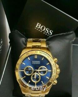 Brand New Hugo Boss Hb1513340 With Tags Mens Chronograph Gold Blue Face Watch