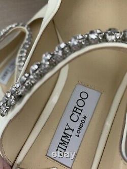 Brand New JIMMY CHOO Bing 100 Patent Crystal Strap Pumps white Size 39, size 8