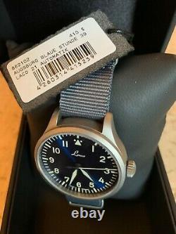 Brand New Laco Augsburg Blaue Stunde 39MM Flieger Pilot Watch on Blue Gray NATO
