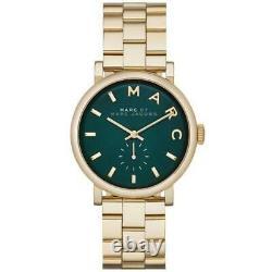 Brand New Marc Jacobs Baker Green & Gold Stainless Steel Mbm3245 Womens Watch