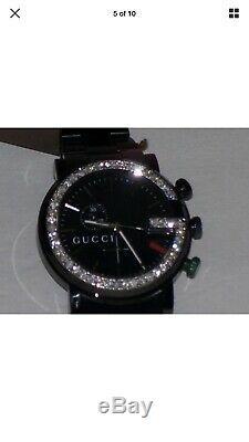 Brand New Men's Gucci 101G 1.92ct. Aprx. Black dial Diamond bezel Watch YA101331