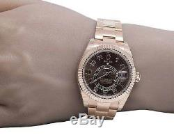 Brand New Mens 18K Ever Rose Gold 326935 Rolex Brown Dial Sky Dweller 42mm