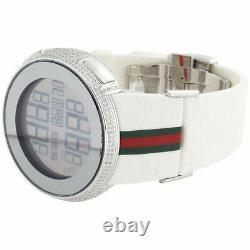 Brand New Mens Diamond Gucci Watch I Gucci Digital White Band Ya114214 2.5 CT