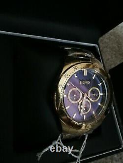 Brand New Mens Hugo Boss Gold Chronograph Blue Face Watch HB1513340