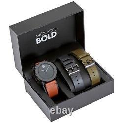 Brand New Mens Movado Bold 3600600 TR-90 Black Quartz Dial! 3-Color Bands