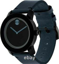 Brand New Mens Movado Bold 3600601 Blue Leather Strap/Hands Black Dial Watch